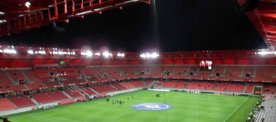 Inside Stade Du Hainaut at night