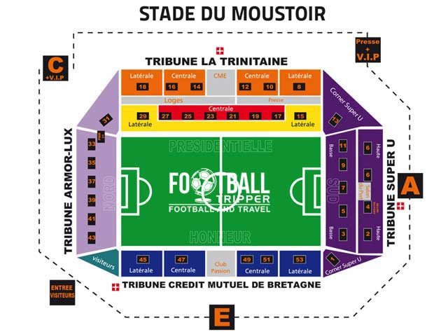 Stade du Moustoir Seating Plan