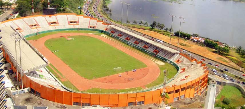 Aerial view of Ivory Coast's national stadium