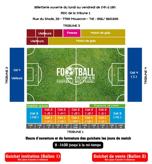 Seating chart for Stade de le Canonnier
