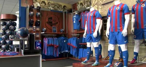 Interior of Stade Malherbe Caen club shop
