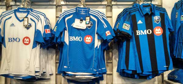The home colours of Montreal Impact, the kits are sponsored by BMO who also sponsor Toronto FC's Stadium.