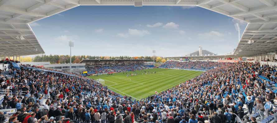 Inside packed Stade Saputo