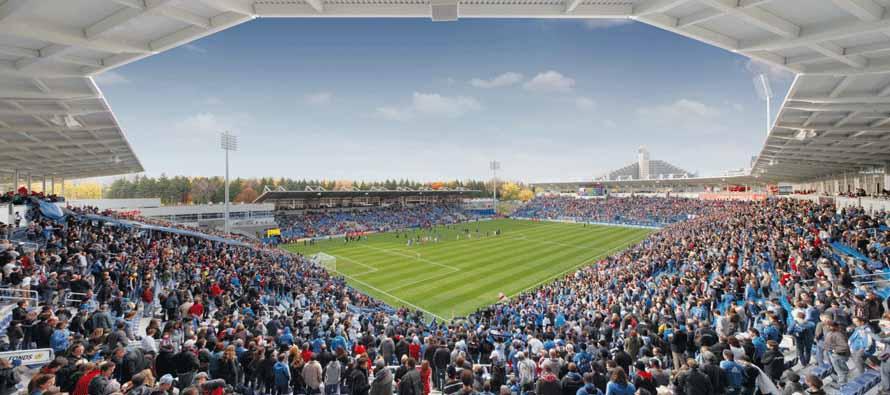 Inside packed Stade Saputo