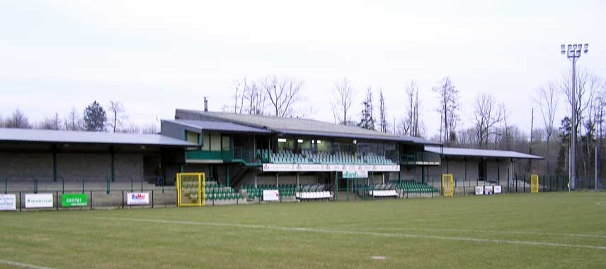 The main stand at Yvan Georges stadium