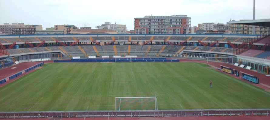 Inside empty Stadio Angelo Massimino