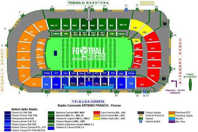 stadio artemio franchi Seating Plan