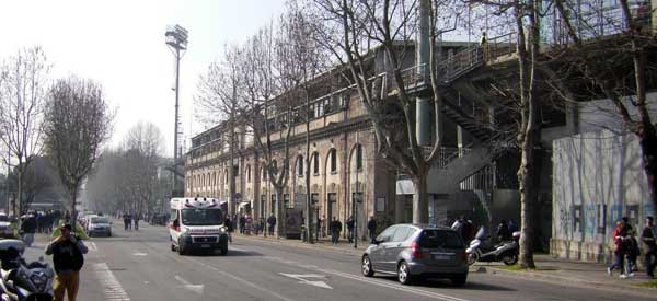 The exterior of Stadio Atletti D'Azzuri's main stand.