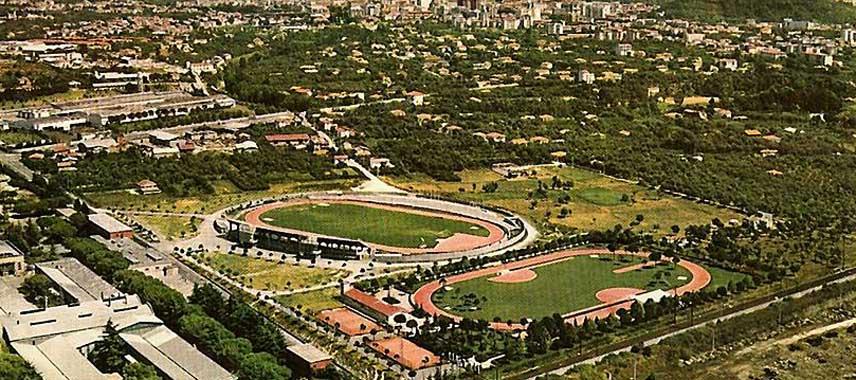 Aerial view of Massese's Stadio Degli Oliveti