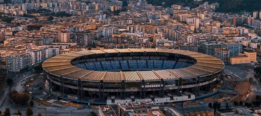 Aerial view of rennovated Stadio San Paolo, now named after Diego Maradona