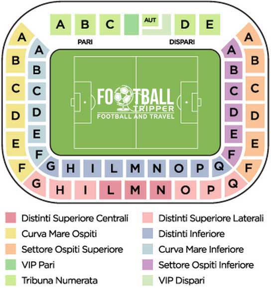 Seating Section Map for Stadio Dino Manuzzi