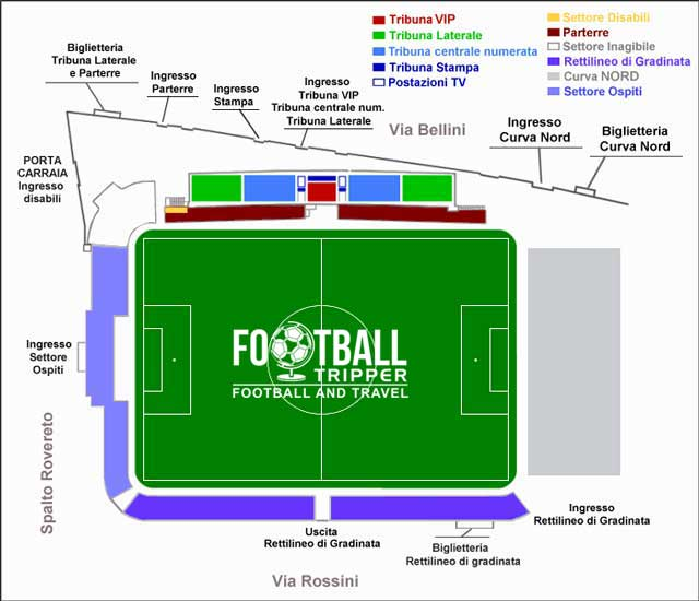 Stadio Giuseppe Moccagatta seating map