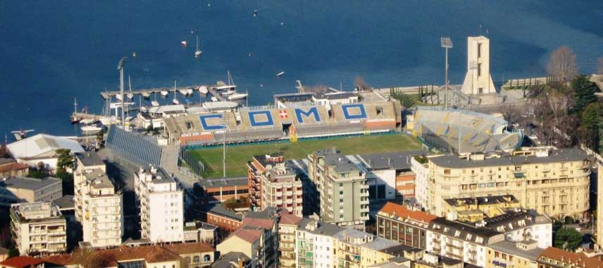 Aerial view of Stadio Sinigaglia and the lake