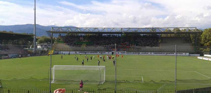 Behind the goal view of Stadio Melani