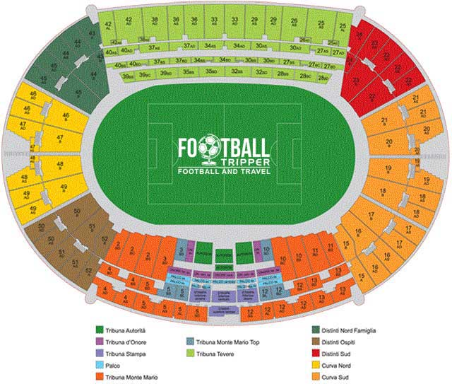 stadio olimpico rome Seating Plan