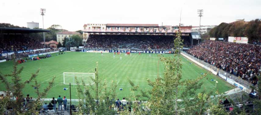 Leafy view of Stadio Paolo mazza's pitch