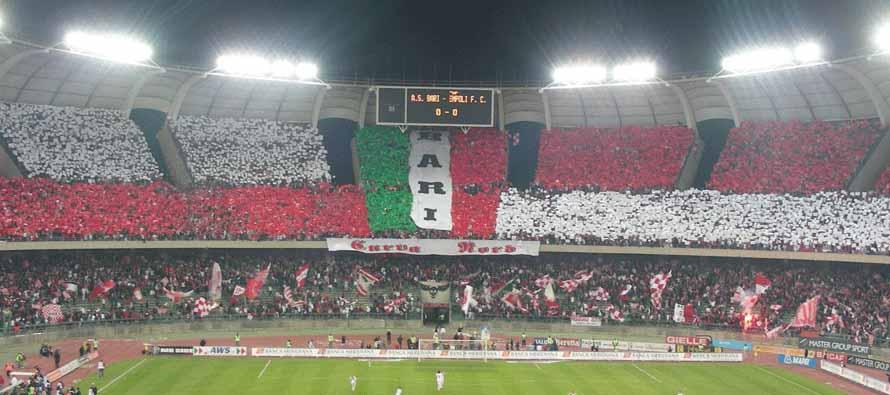Bari fans in the curva at San Nicola