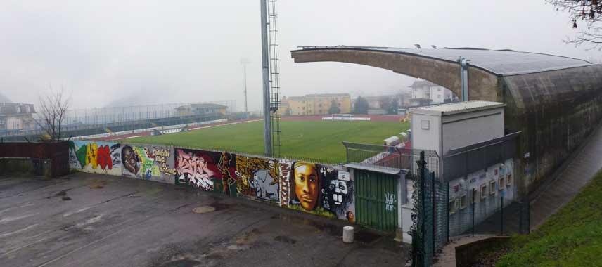 Exterior view looking into Stadio Saleri