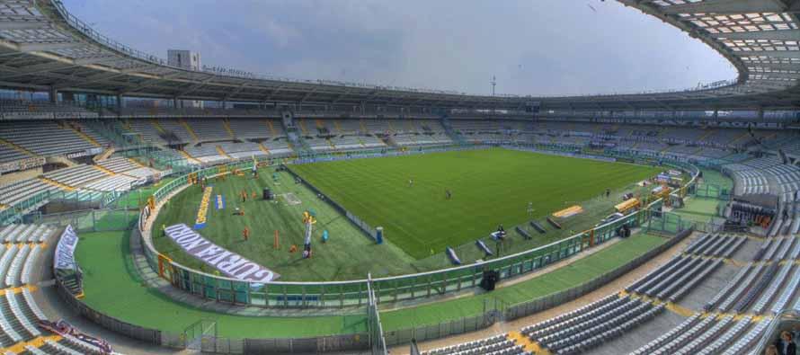 Inside empty Stadio Olimpico Di Torino