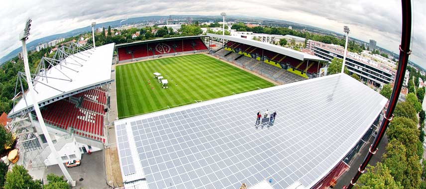 Aerial view of new roofs at Stadion Bruchweg