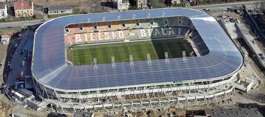 Aerial view of Stadion Miejeski Bielsko Biala