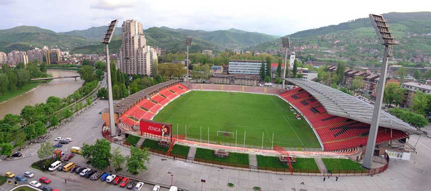 Aerial view of Bilino Polje football stadium