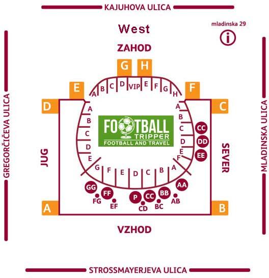 Seating plan of NK Maribor's stadium