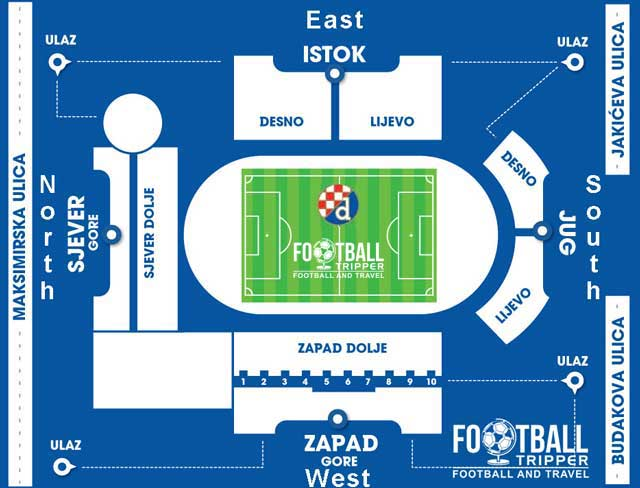Stadium plan of Maksimir in Zagreb, Croatia