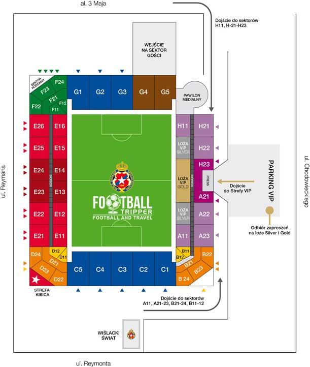 Stadion Miejski Wisły Kraków seating plan