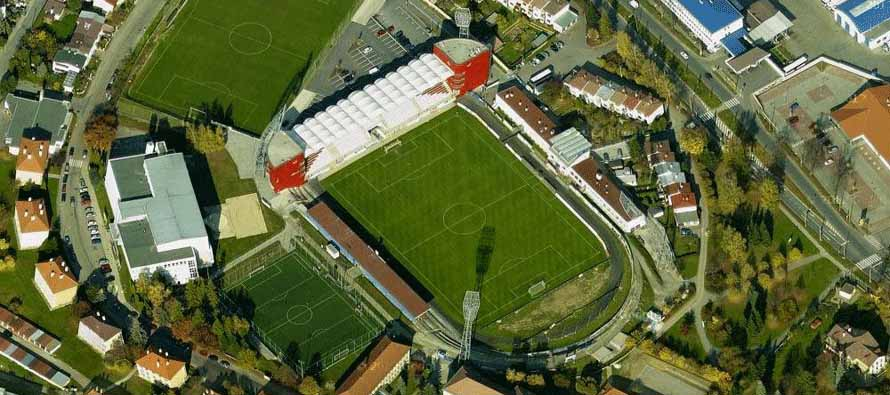Aerial view of Stadion V Jiraskove