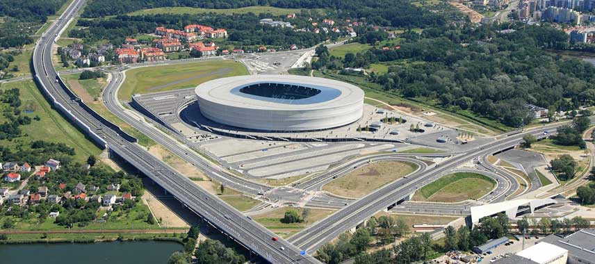 Aerial view of the Stadion Wroclaw