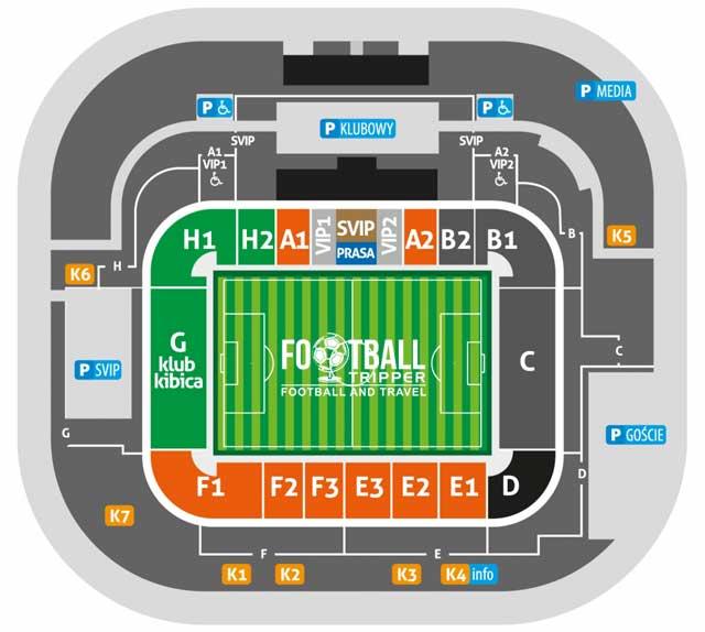 Stadion Zagłębia Lubin seating plan