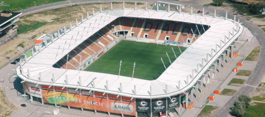 Aerial view of Zaglebia stadium