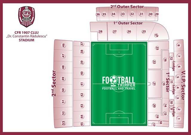 Stadionul Dr. Constantin Rădulescu seating plan