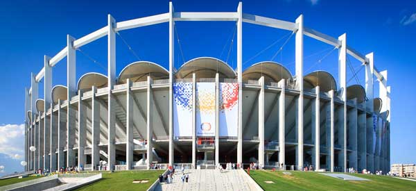 Main entrance of Romania's National Stadium