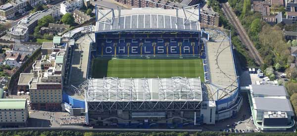 Stamford Bridge from above: The lack of space means that any expansion is expensive and very slow paced.