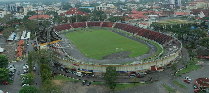 Aerial and dark view of Sultan Mohammad IV Stadium