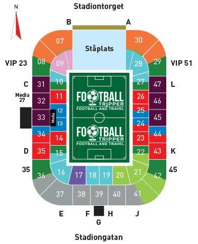 Seating plan for Malmo FF's Swedbank Stadion
