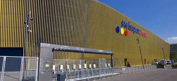 Gold exterior of Swissporarena