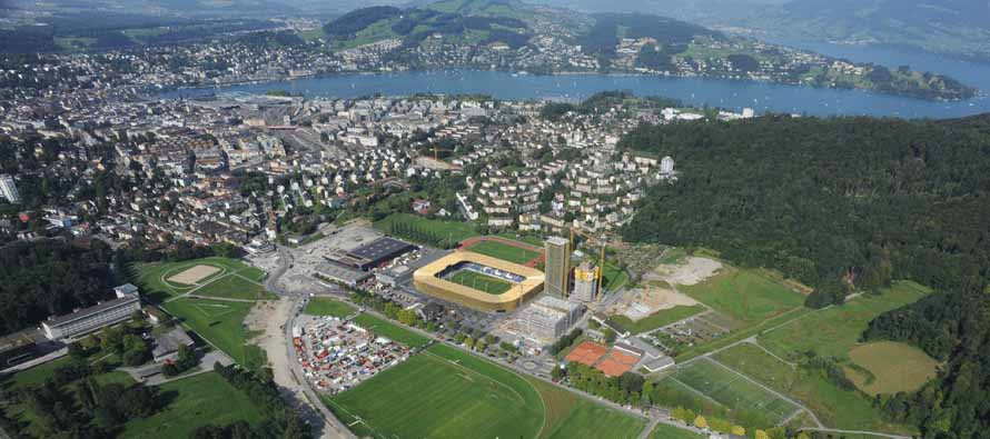 aerial view of swissporarena