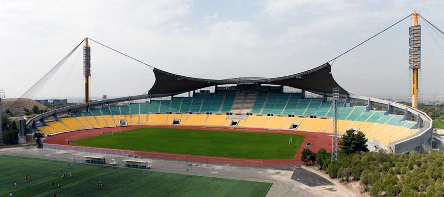 The main stand at Tehran's Takhti Stadium