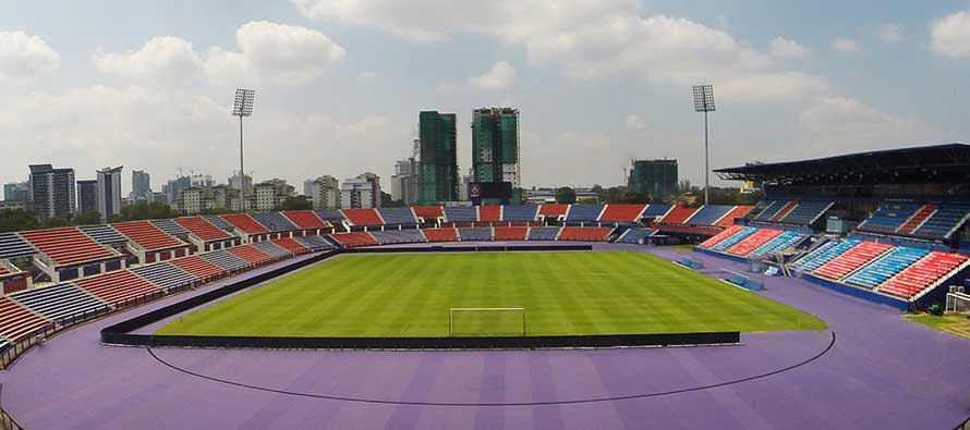 Internal view of the pitch at Larkin Stadium
