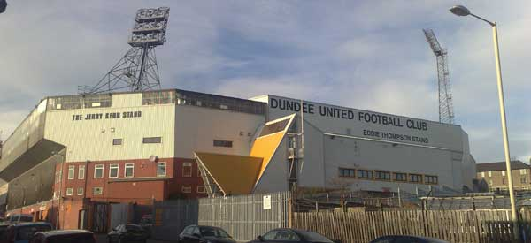 Outside Dundee United's Tannadice Park Stadium.