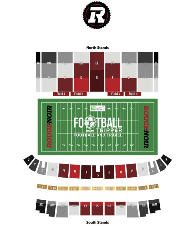 Seating chart of TD Place Stadium