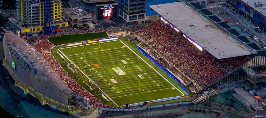 Aerial view of TD Place stadium