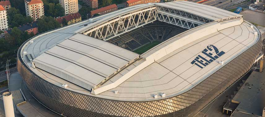 aerial view of Tele2 Arena