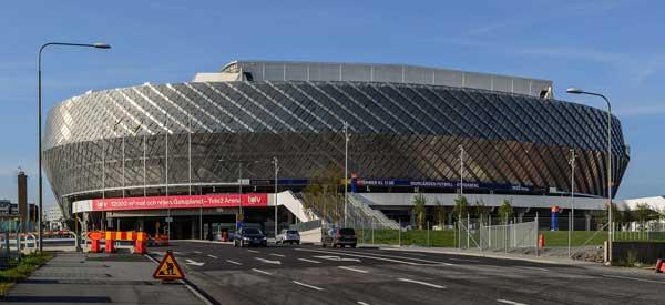 Outside Tele2 Arena.