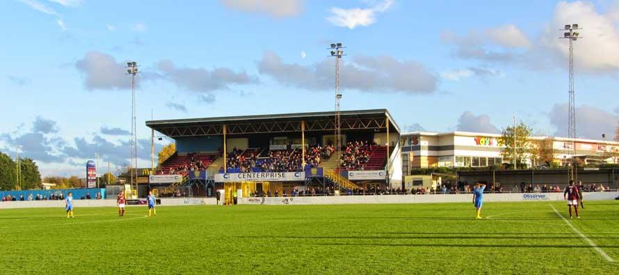 camrose stadium's main stand sunny day
