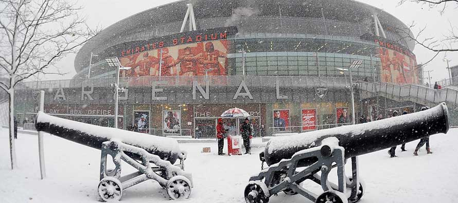 a festive emirates with snow