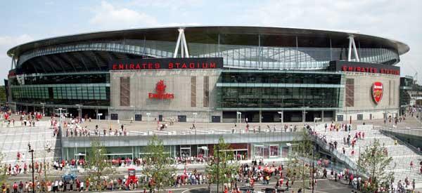 Outside Arsenal's Emirates Stadium